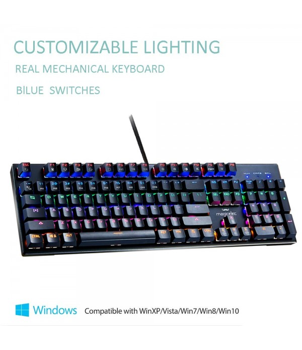 Mechanical Keyboard-Backlit Wired Gaming Keyboard-104 Keys with Preset and Customizable Lighting Effects for PC Gamers-Pro Gamers