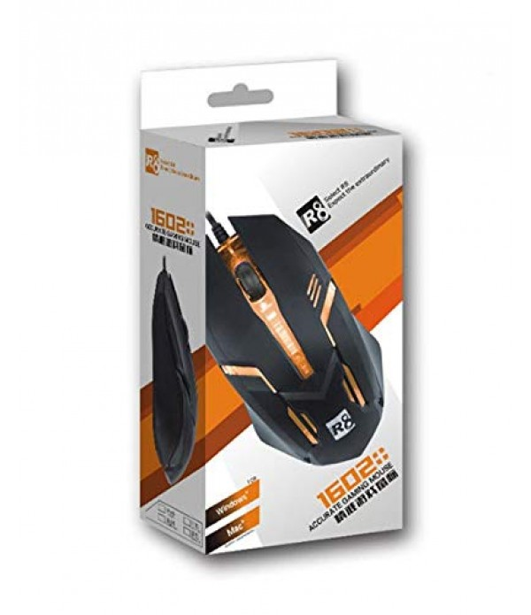 Gaming Mouse with LED Light R8-1602 - Black Color